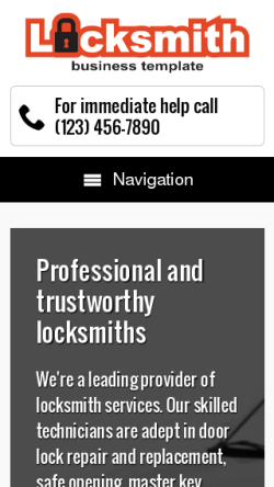 mobile phone screenshot WordPress theme 'Locksmith WordPress Theme'