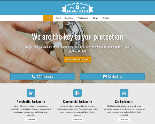 laptop screenshot WordPress theme 'Locksmith Website Template'