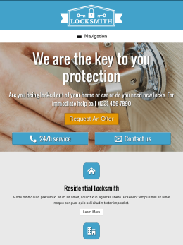 tablet screenshot WordPress theme 'Locksmith Website Template'