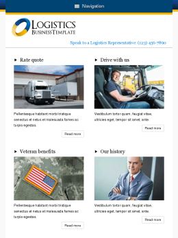 tablet screenshot WordPress theme 'Logistics Wordpress theme'