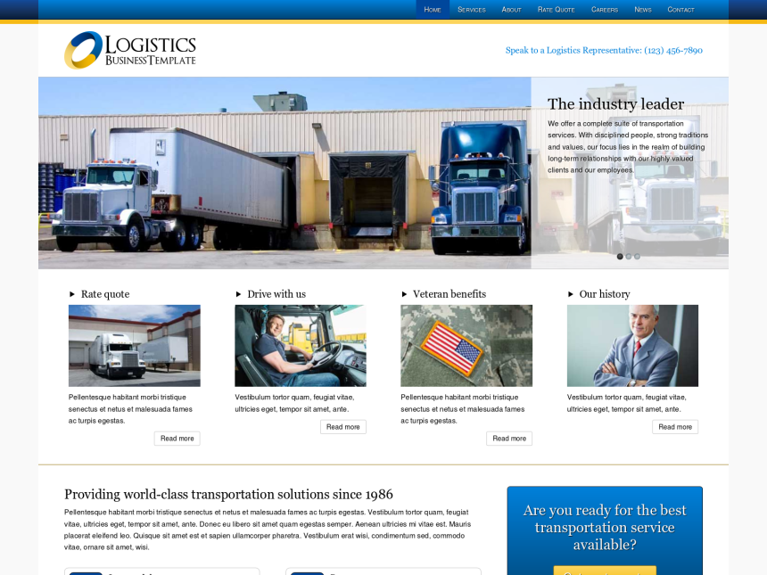desktop screenshot of the WordPress theme 'Logistics Wordpress theme'