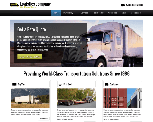 Desktop screenshot of the Logistics Company Wordpress Theme