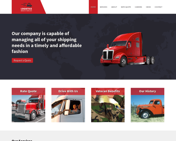 Desktop screenshot of the Logistics Website Template