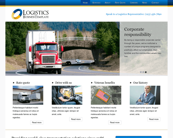 Desktop screenshot of the Logistics Wordpress Theme