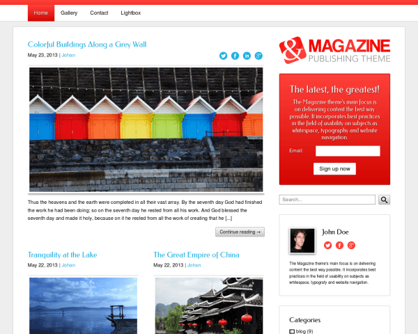 Desktop screenshot of the Magazine Wordpress Theme