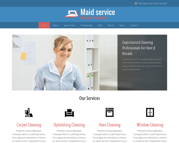 Desktop screenshot of the Maid Service Website Template