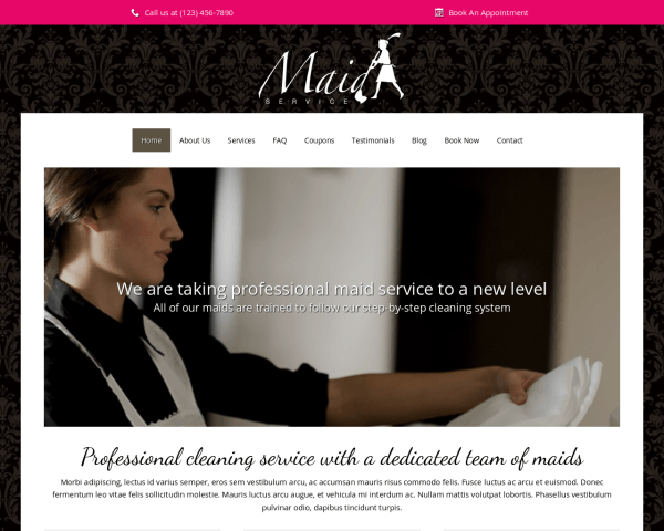Desktop screenshot of the Maid Service Wordpress Theme