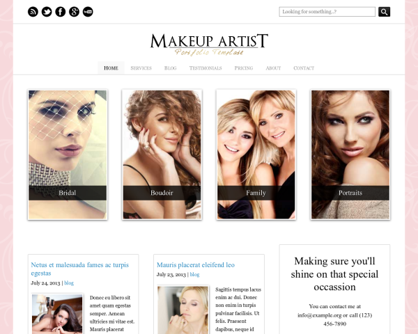 laptop screenshot WordPress theme 'Makeup Artist WordPress Theme'