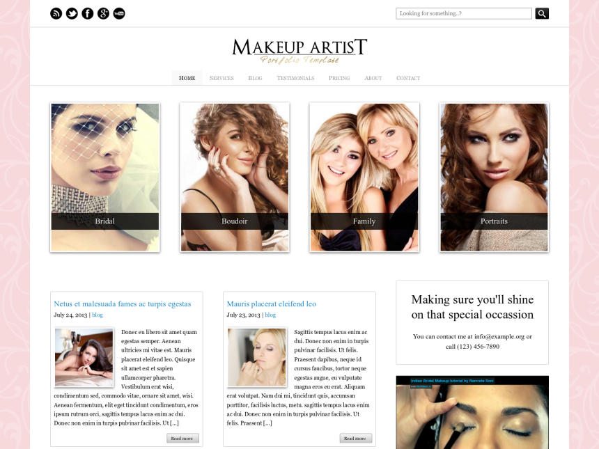 desktop screenshot of the WordPress theme 'Makeup Artist WordPress Theme'