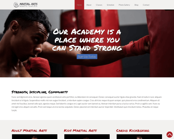 Desktop screenshot of the Martial Arts Website Template