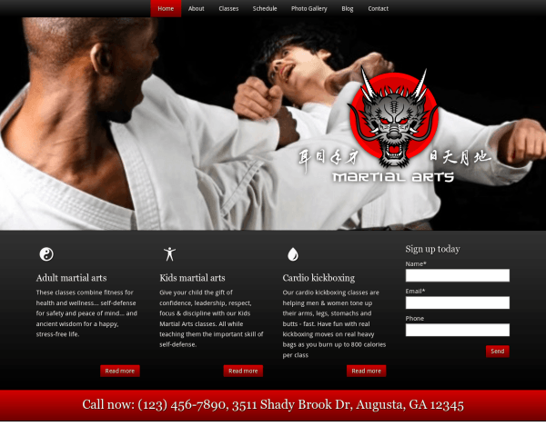Desktop screenshot of the Martial Arts Wordpress Theme