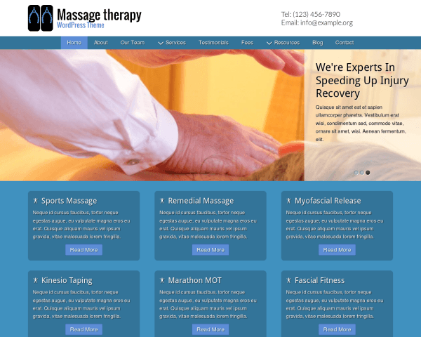 Massage Therapy WordPress theme thumbnail (desktop screenshot)