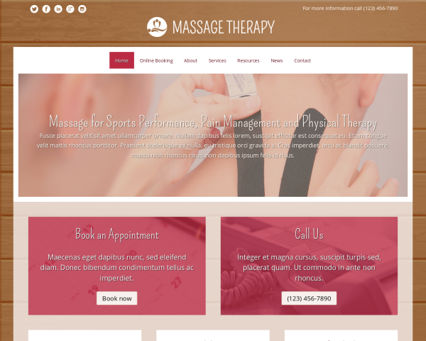 laptop screenshot WordPress theme 'Massage Therapy WordPress theme'