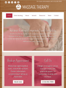 tablet screenshot WordPress theme 'Massage Therapy WordPress theme'