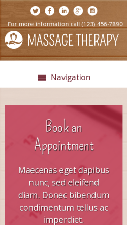 mobile phone screenshot WordPress theme 'Massage Therapy WordPress theme'