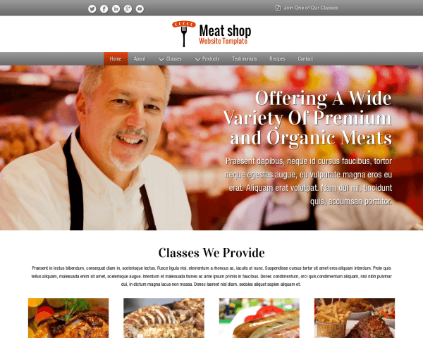 Desktop screenshot of the Meat Shop Website Template
