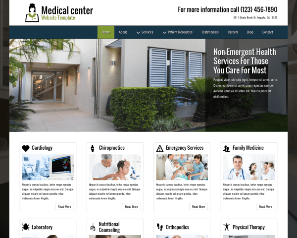 Desktop screenshot of the Medical Center Website Template