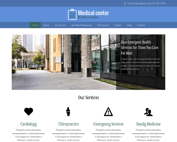 Desktop screenshot of the Medical Center Wordpress Theme
