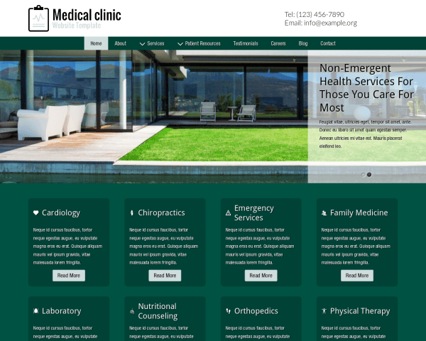 Desktop screenshot of the Medical Clinic Website Template
