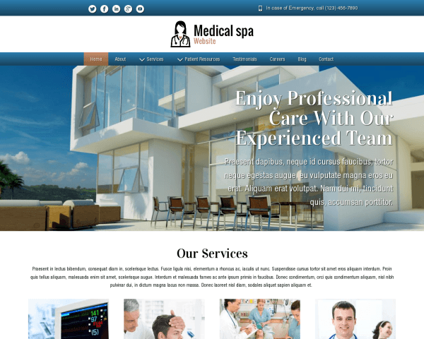Desktop screenshot of the Medical Spa Website