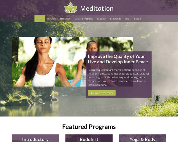 Desktop screenshot of the Meditation Website Template
