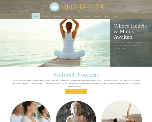 Desktop screenshot of the Meditation Wordpress Theme