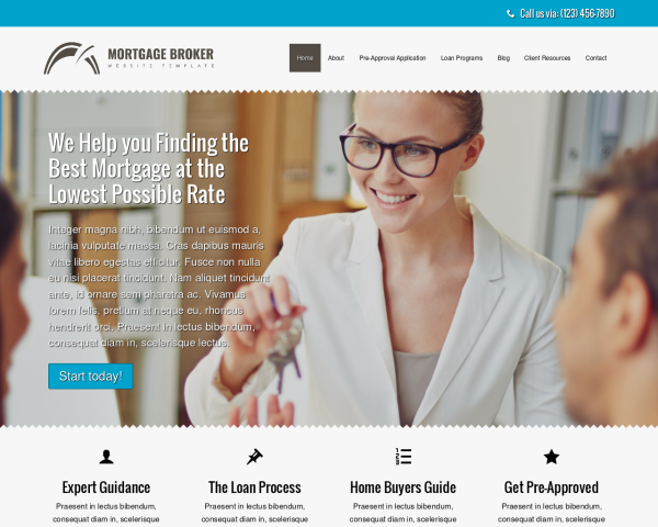 image representation of the Mortgage Broker Website Template