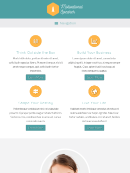 tablet screenshot WordPress theme 'Motivational Speaker WordPress theme'