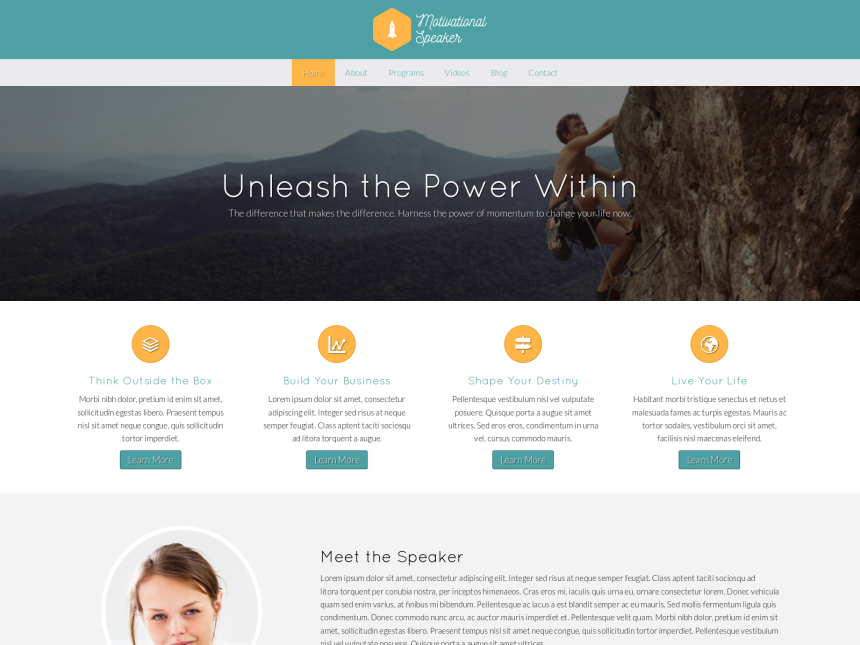 desktop screenshot of the WordPress theme 'Motivational Speaker WordPress theme'