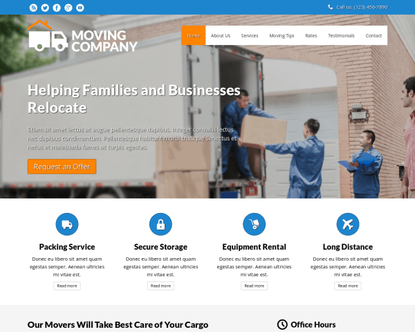 Desktop screenshot of the Moving Company Website Template