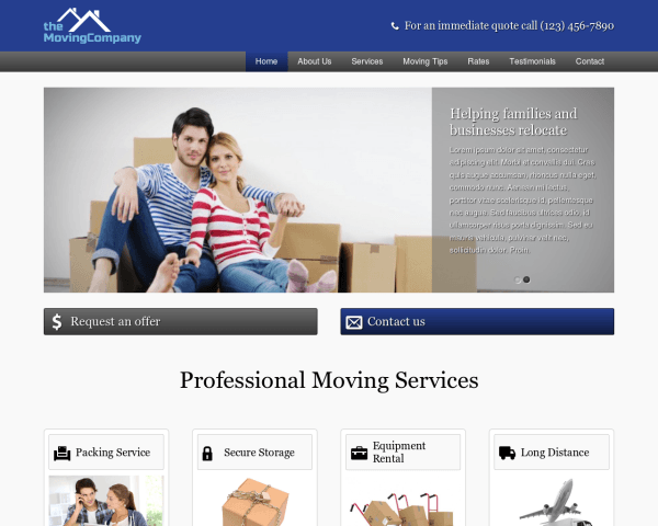 Desktop screenshot of the Moving Company Wordpress Theme