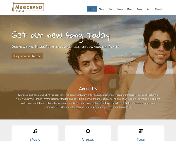 Desktop screenshot of the Music Band Wordpress Theme