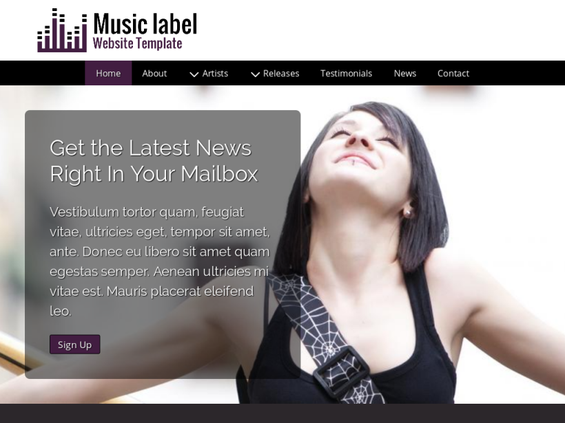 landscape tablet screenshot of WordPress theme 'Music Label Website Template'