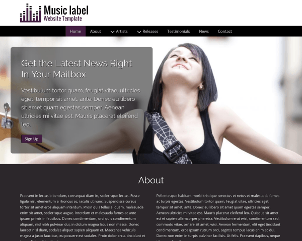 Desktop screenshot of the Music Label Website Template