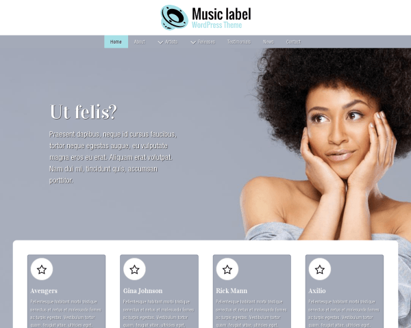 Desktop screenshot of the Music Label Wordpress Theme