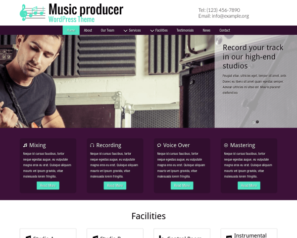 Desktop screenshot of the Music Producer Wordpress Theme