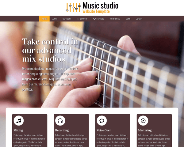 Desktop screenshot of the Music Studio Website Template
