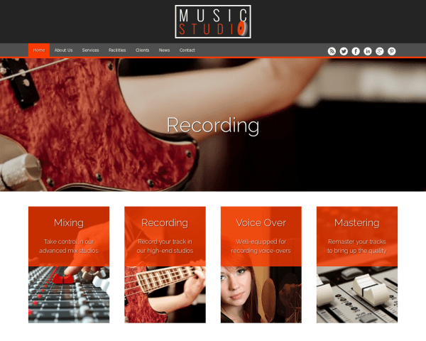 Desktop screenshot of the Music Studio Wordpress Theme
