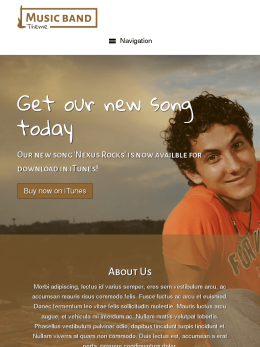 tablet screenshot WordPress theme 'Music Band WordPress theme'