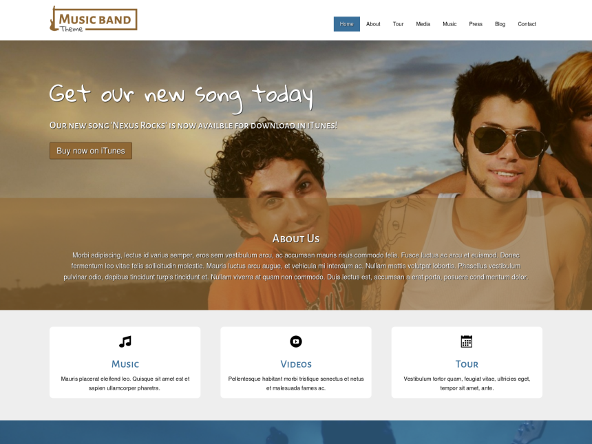 desktop screenshot of the WordPress theme 'Music Band WordPress theme'