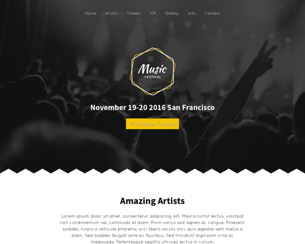 laptop screenshot WordPress theme 'Music Festival WordPress Theme'