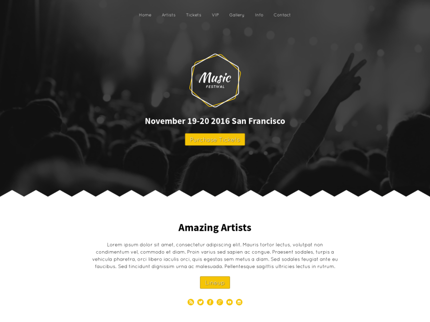 desktop screenshot of the WordPress theme 'Music Festival WordPress Theme'