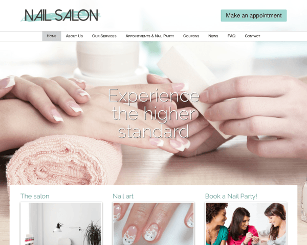 Desktop screenshot of the Nail Salon Wordpress Theme
