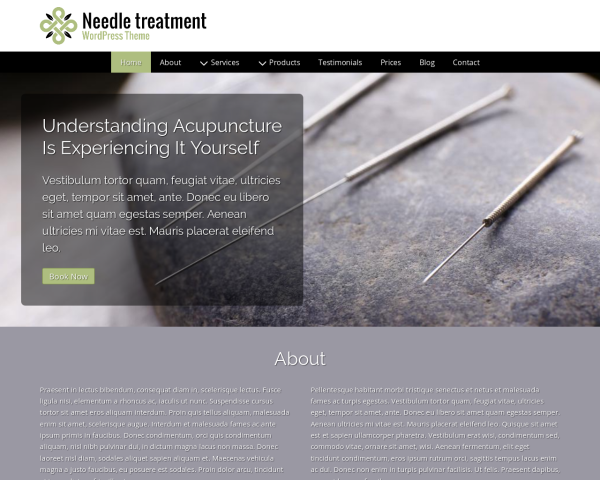 Desktop screenshot of the Needle Treatment Wordpress Theme