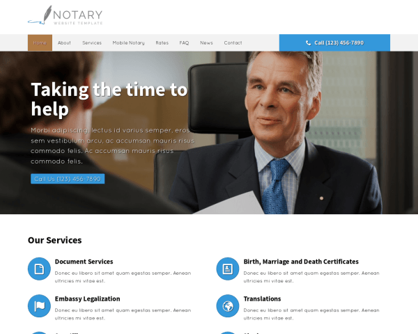 Desktop screenshot of the Notary Website Template