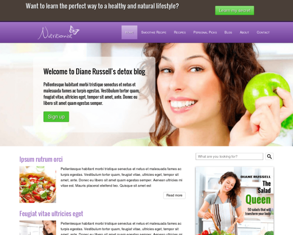 laptop screenshot WordPress theme 'Nutrition WordPress Theme'