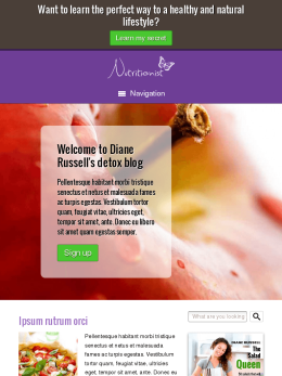 tablet screenshot WordPress theme 'Nutrition WordPress Theme'