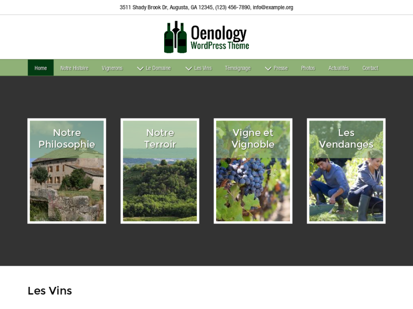 landscape tablet screenshot of WordPress theme 'Oenology Wordpress Theme'