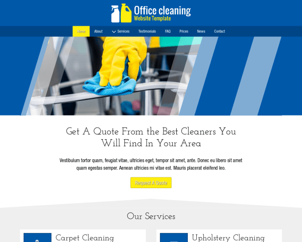 Desktop screenshot of the Office Cleaning Website Template