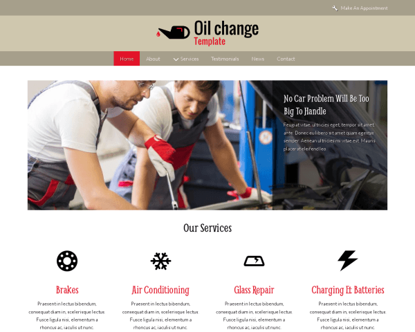 Desktop screenshot of the Oil Change Template